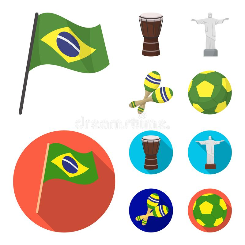 巴西,国家,旗子,鼓 在动画片,平的样式传染媒介标志股票例证的巴西国家集合汇集象 向量例证