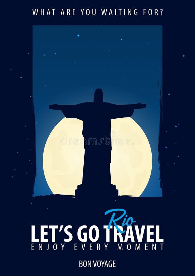 巴西,里约 时刻旅行 旅途,旅行,假期 月亮背景 一路平安 向量例证