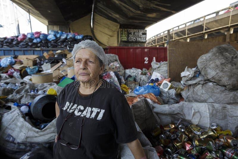 巴西-圣保洛- Catadores de rua -重复利用合作社 免版税库存照片