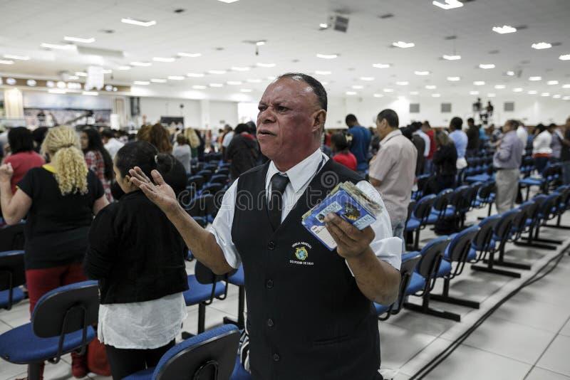 巴西-圣保洛- La Igreja Mundial做Poder de Deus -每日作用 库存照片