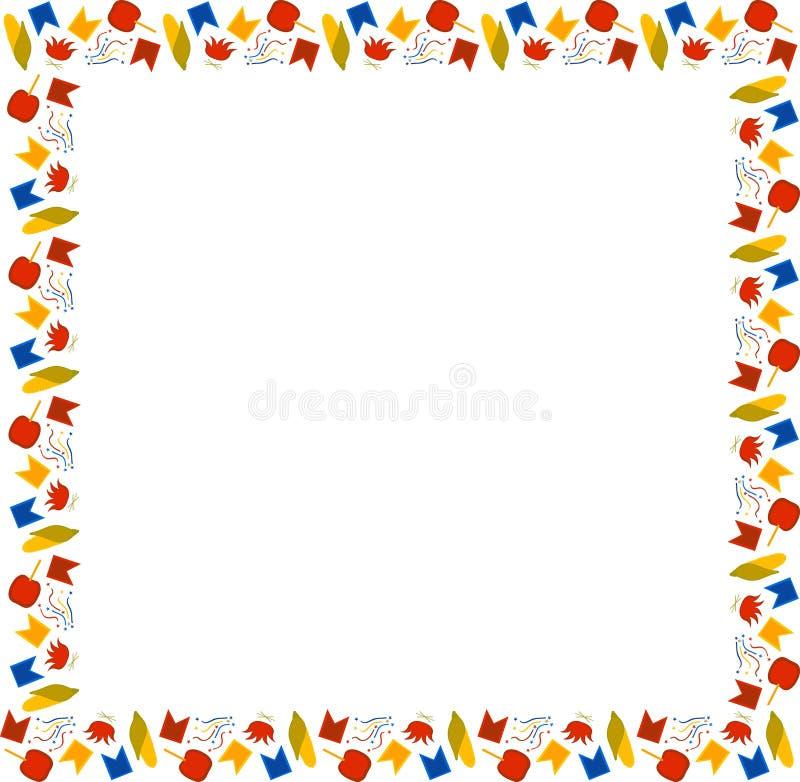 巴西6月节日费斯塔Junina 多彩多姿的玉米,篝火,旗子,五彩纸屑,在焦糖的苹果方形的框架在白色bac 库存例证