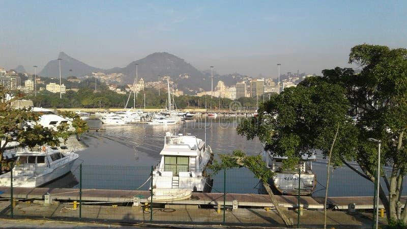 巴西-里约热内卢-普腊亚做弗拉门戈队-小游艇船坞da格洛里亚- Aterro 库存照片