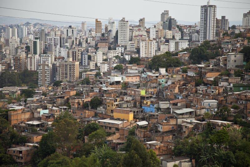 巴西buildingd贫寒贫民窟 图库摄影