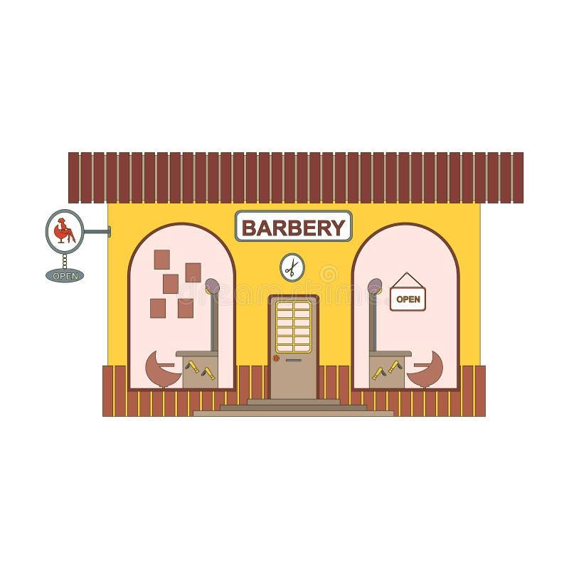 巴贝里商店在平的样式的动画片象 在城市街道上的理发师陈列室 设计过去的元素在比赛或ui app 皇族释放例证