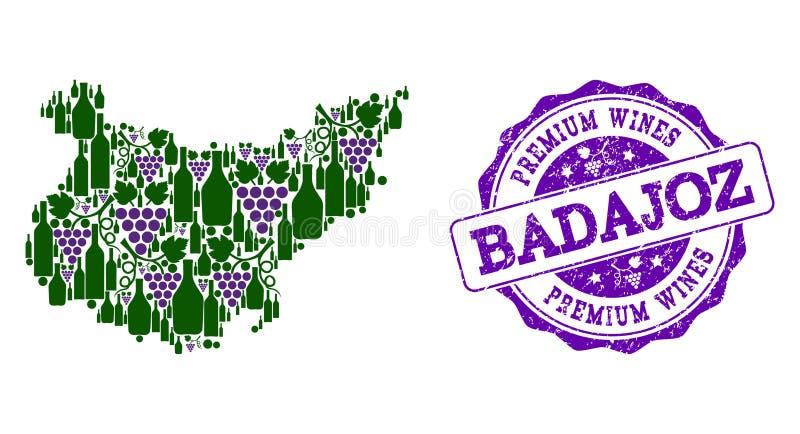 巴达霍斯省葡萄酒瓶地图拼贴画和优质酒盖印 向量例证