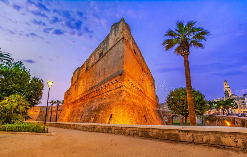 巴里,意大利,普利亚:德国的兹瓦本地方城堡或Castello Svevo,也叫 库存图片