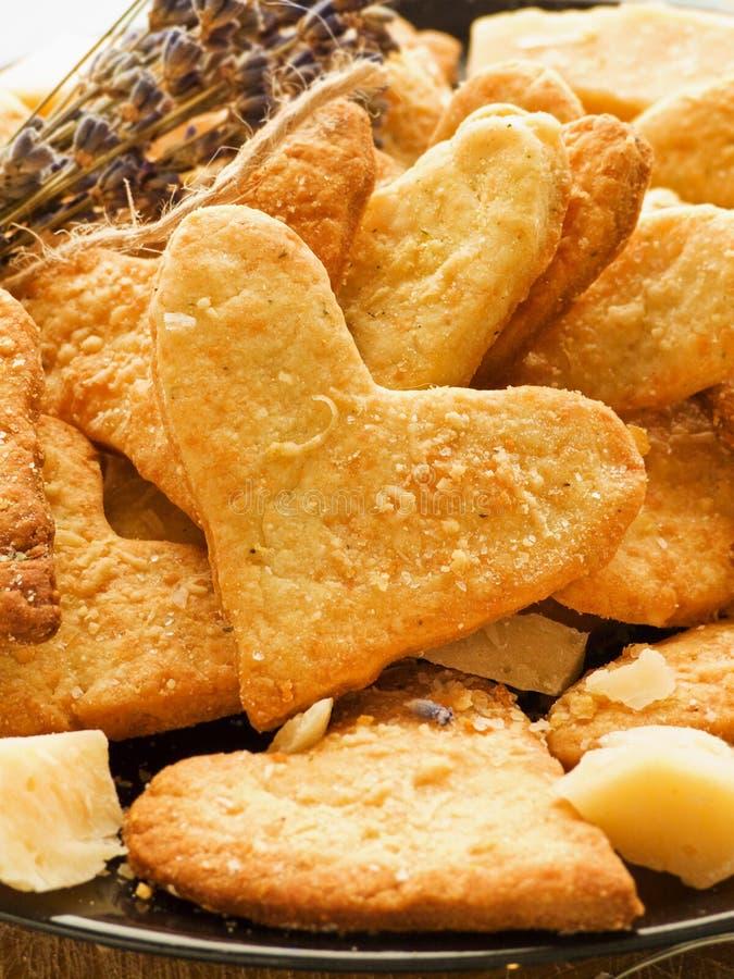 巴马干酪心脏曲奇饼 库存图片