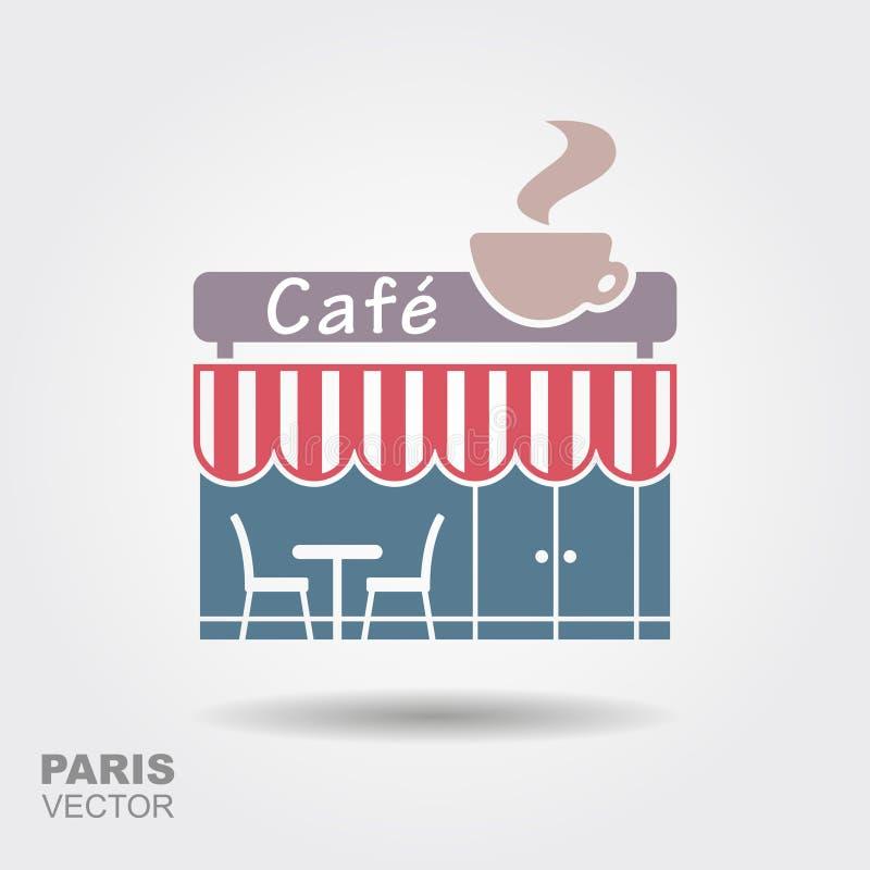 巴黎人街道咖啡馆 库存例证