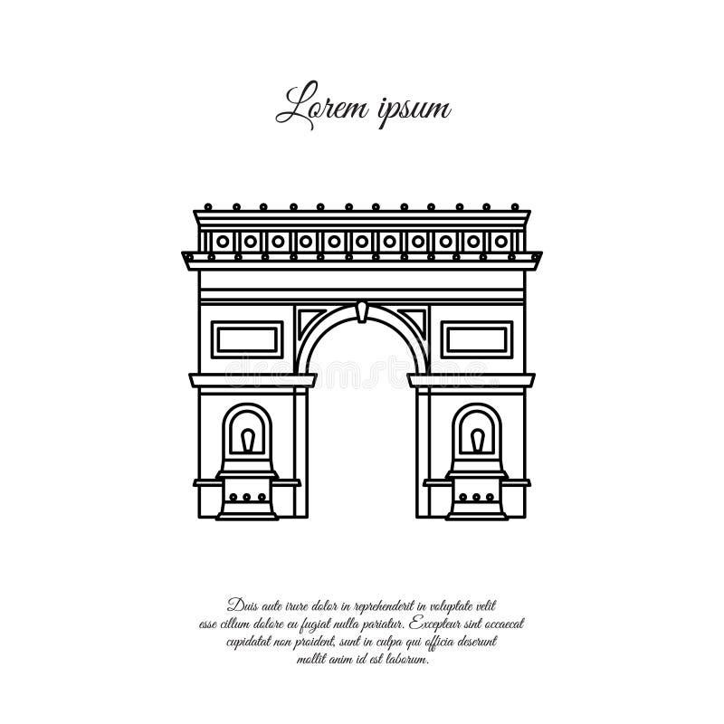巴黎传染媒介线的象,标志凯旋门 皇族释放例证