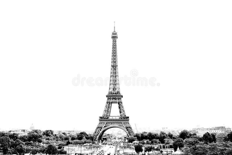 巴黎全景黑白照片以埃菲尔铁塔为目的在法国 r 免版税库存照片