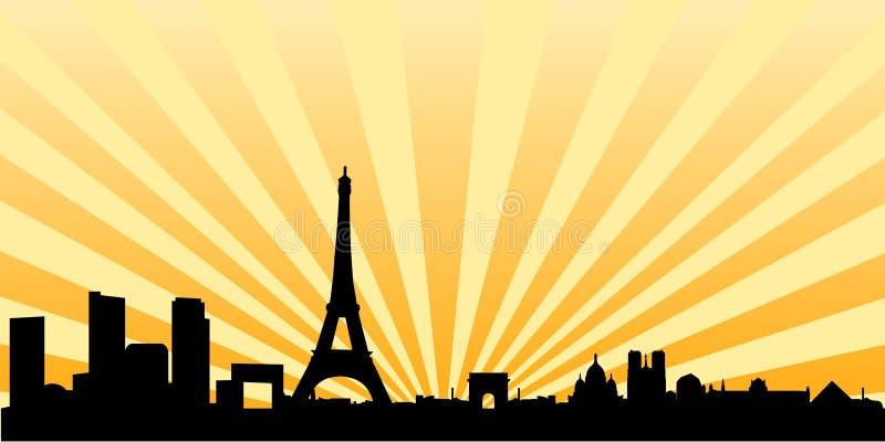巴黎剪影地平线日落 皇族释放例证