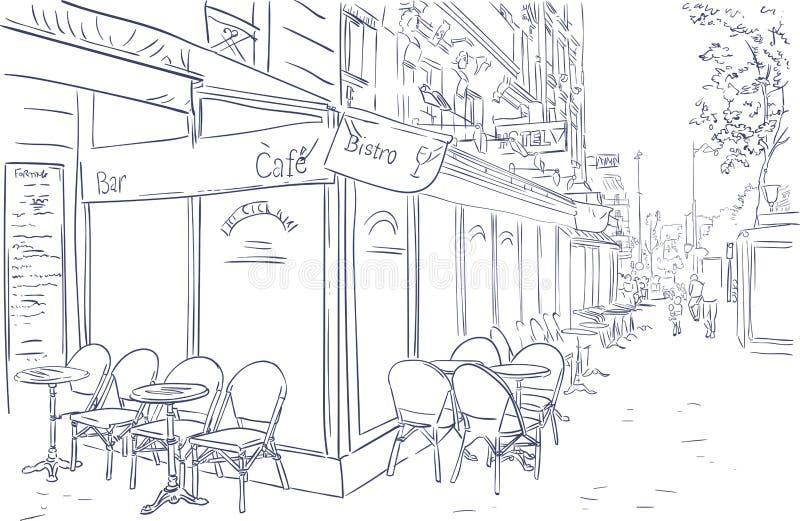 巴黎咖啡馆街道剪影例证艺术 皇族释放例证