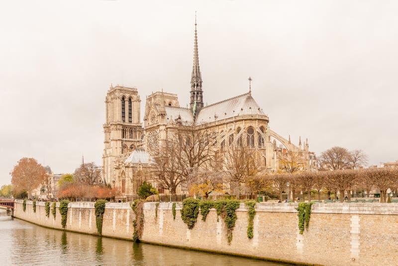 巴黎圣母院东部门面  库存图片