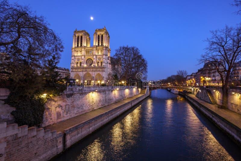 巴黎圣母院在巴黎在晚上,法国 免版税库存图片