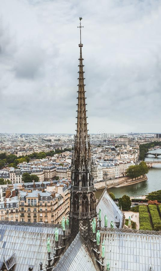 巴黎圣母院尖顶,巴黎从Notre Dame大教堂屋顶的全景和河塞纳河,法国 免版税库存图片