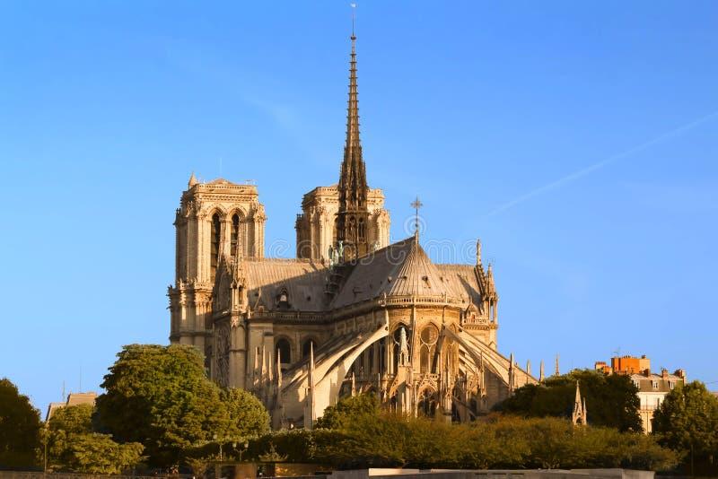 巴黎圣母院晴天,巴黎,法国 库存图片