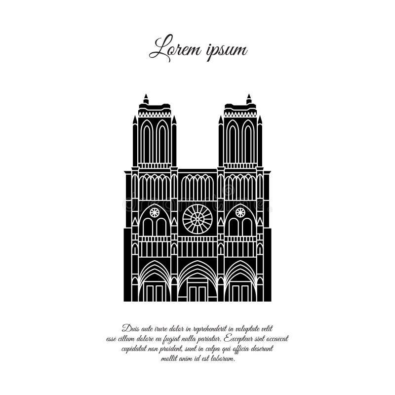 巴黎圣母院黑色矢量图 旅行矢量横幅或标识 法国巴黎圣母院大教堂 法语 向量例证