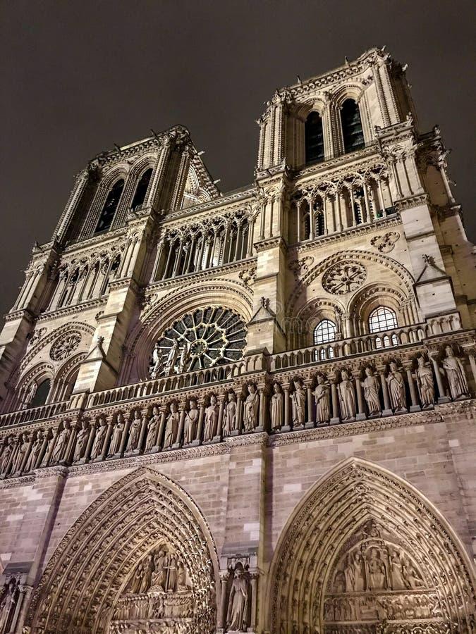 巴黎圣母院,巴黎,法国前面反对夜空的 免版税库存照片