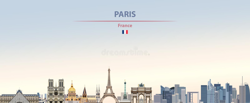 巴黎在五颜六色的梯度好天气天空背景的市地平线的传染媒介例证 库存例证