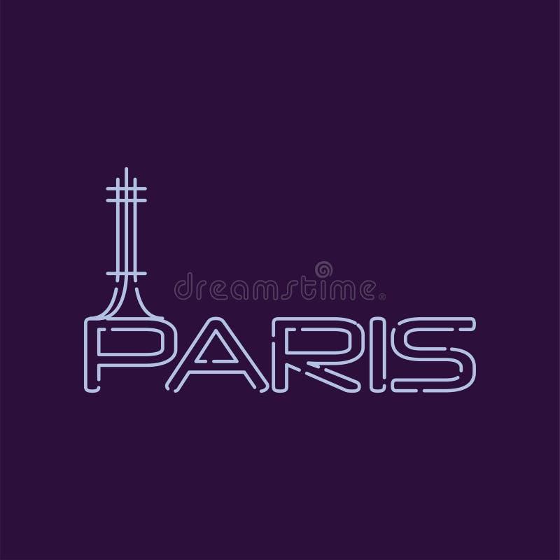 巴黎在线型的市商标 埃佛尔铁塔抽象剪影  著名旅游胜地在法国的首都 向量例证