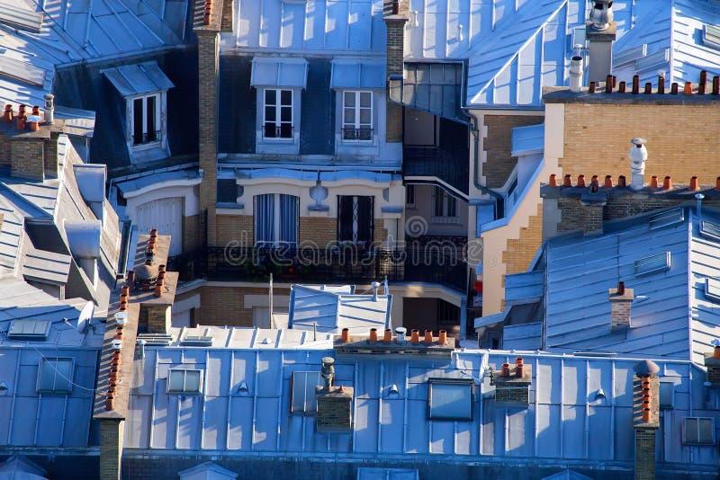 巴黎屋顶从埃菲尔` s的耸立 免版税库存照片