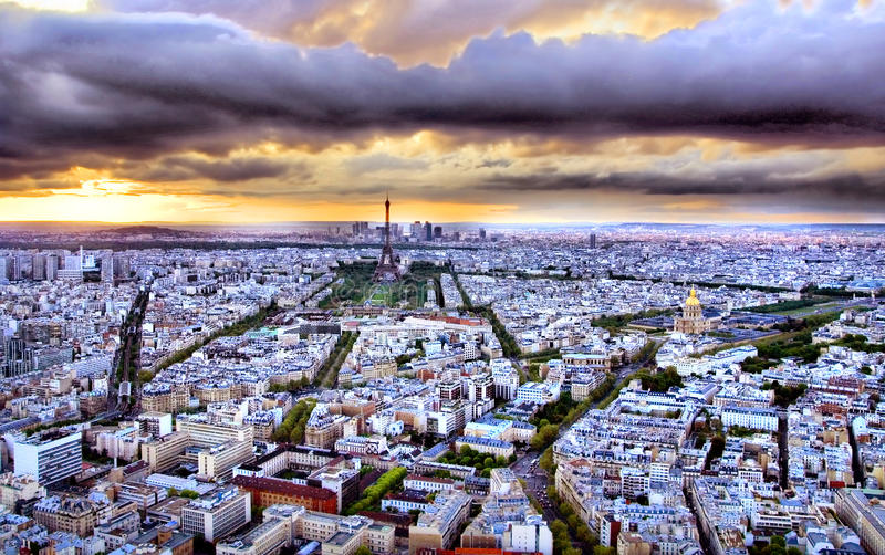 巴黎日落 图库摄影