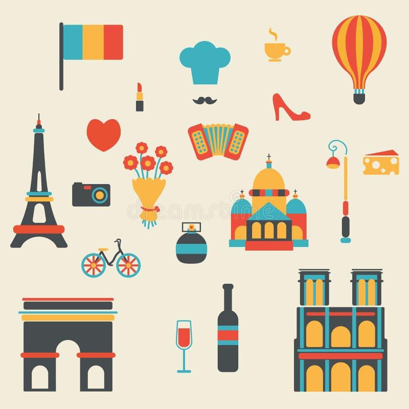 巴黎标志汇集的概念 向量例证