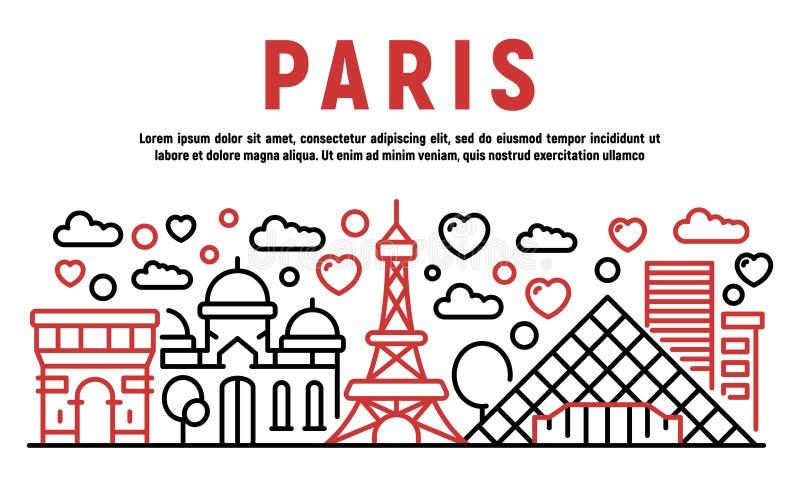巴黎横幅,概述样式 向量例证