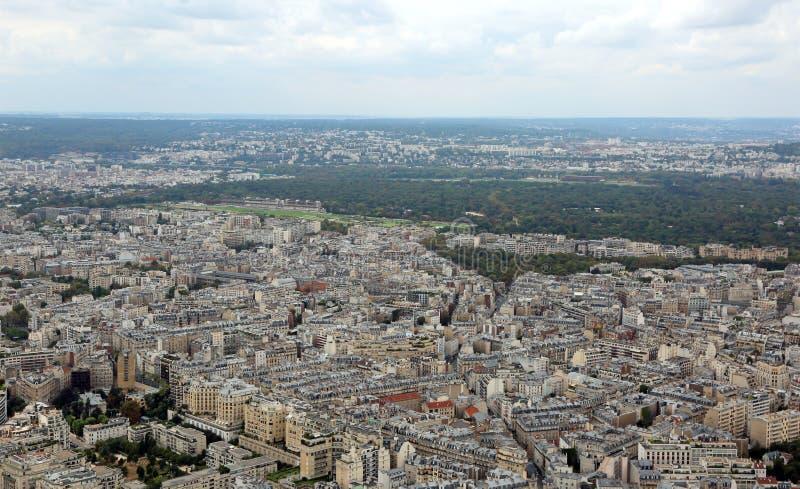 巴黎的全景在从埃菲尔铁塔的法国 免版税库存图片