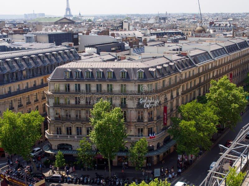 巴黎老佛爷百货公司百货店,巴黎,法国鸟瞰图  库存图片