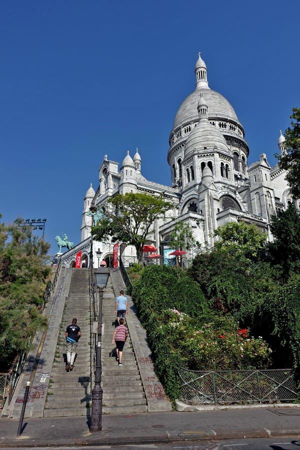 巴黎耶稣圣心的大教堂 库存图片