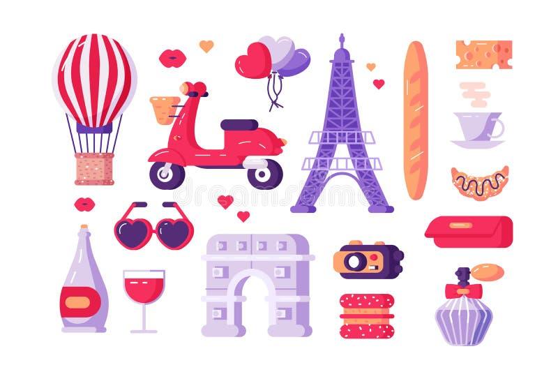 巴黎著名符号集 向量例证
