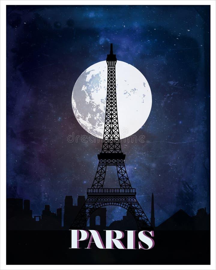 巴黎葡萄酒海报旅行 库存例证
