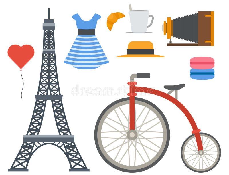 巴黎象传染媒介著名旅行烹调传统现代法国文化欧洲埃菲尔时尚设计建筑学 库存例证