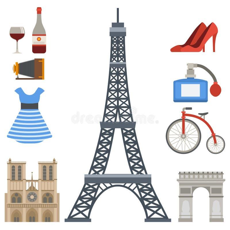 巴黎象传染媒介著名旅行烹调传统现代法国文化欧洲埃菲尔时尚设计建筑学 皇族释放例证