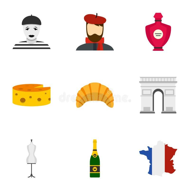 巴黎象的标志设置了,平的样式 皇族释放例证