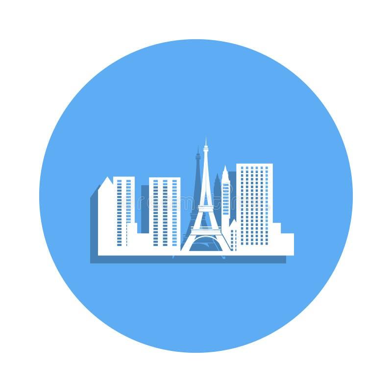 巴黎象都市风景在徽章样式的 一都市风景汇集象可以为UI, UX使用 皇族释放例证