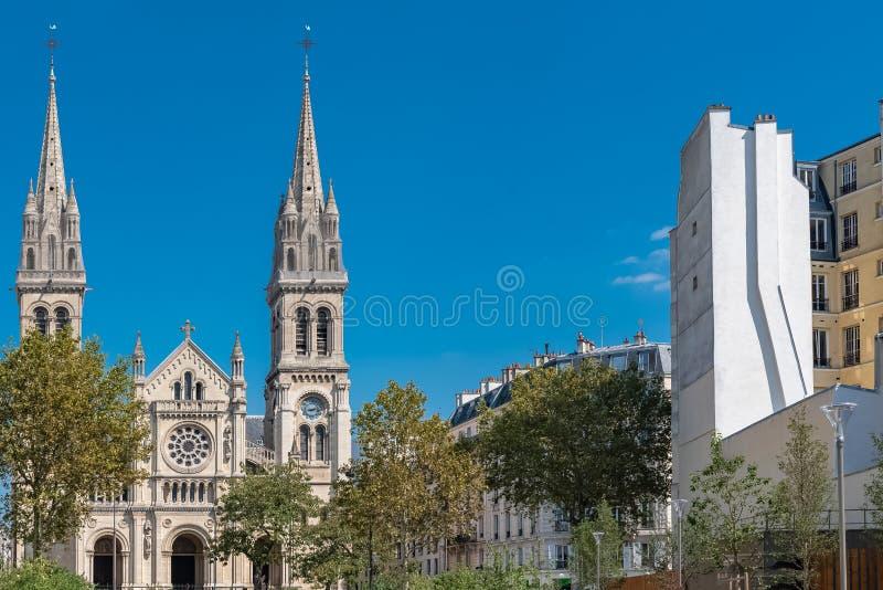 巴黎,圣徒安布鲁瓦兹教会 免版税库存照片