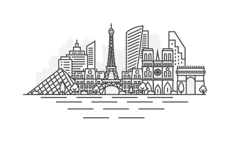 巴黎,法国建筑学线地平线例证 与著名地标的线性传染媒介都市风景,城市视域,设计 向量例证