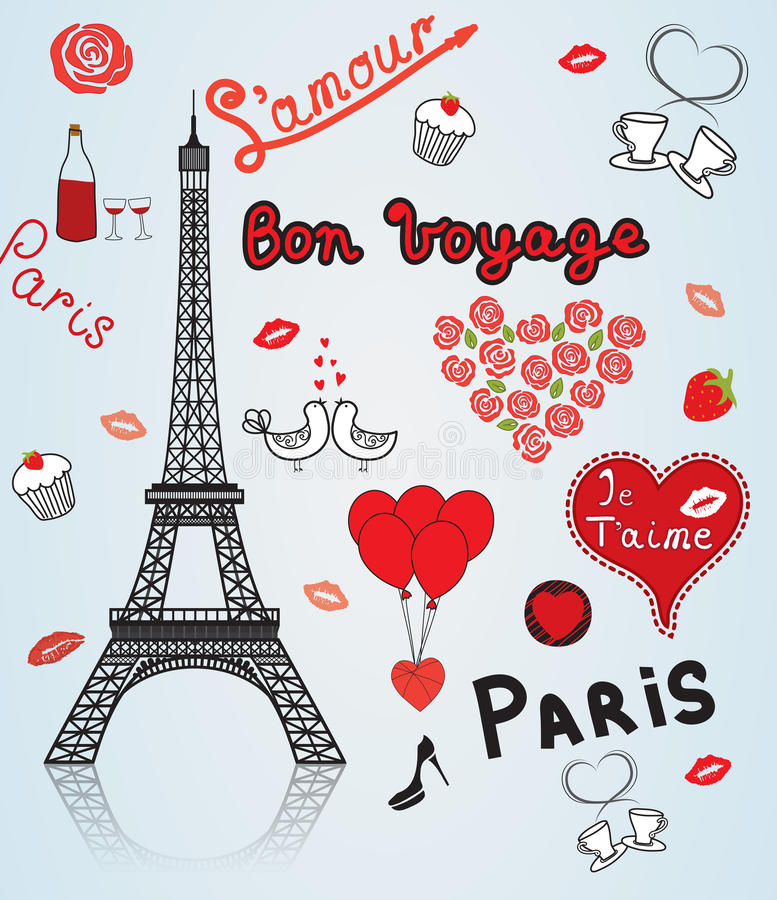 巴黎,法国,爱。 向量例证