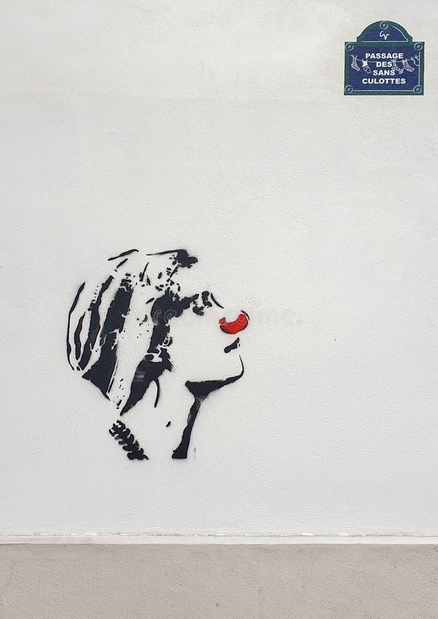 巴黎,法国,2019年6月:现代街道艺术 免版税库存图片