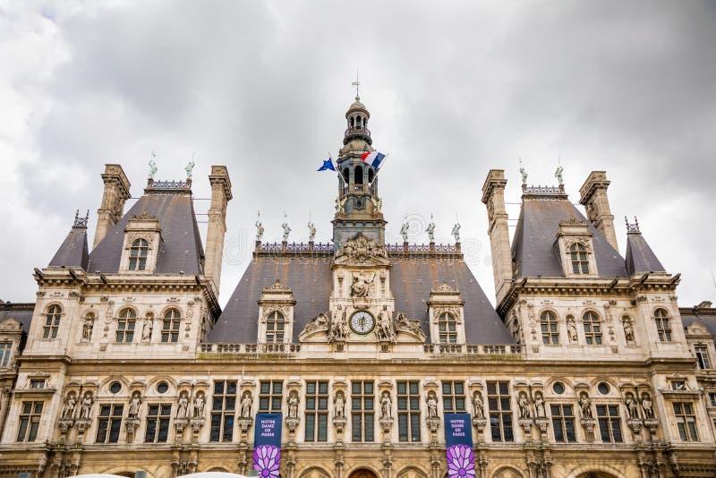 巴黎,法国- 24 04 2019年:旅馆de韦莱或政府大厦在巴黎-安置巴黎的管理城市的大厦 库存图片
