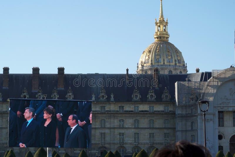 巴黎,法国- 2018年10月5日-庆祝查尔斯・阿兹内尔葬礼的巴黎 免版税库存图片