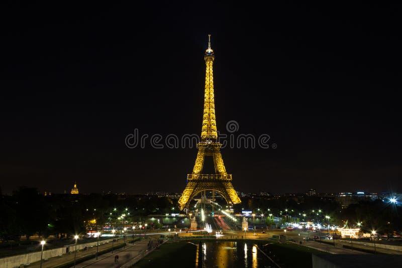 巴黎,法国- 09 13日2012年: Eifel塔在晚上,巴黎,法国 免版税库存照片