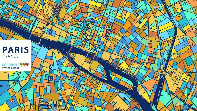 巴黎, Â法国,五颜六色的传染媒介Artmap 皇族释放例证