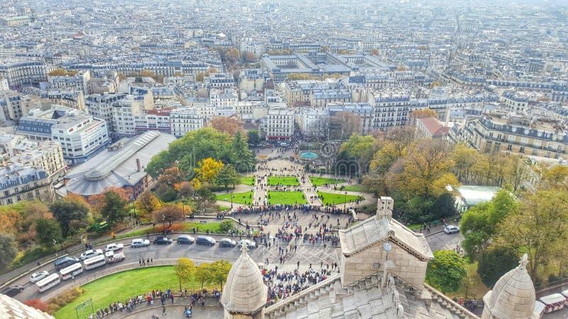 巴黎,Monmartre,Sacré coeur顶面小山的看法  库存照片