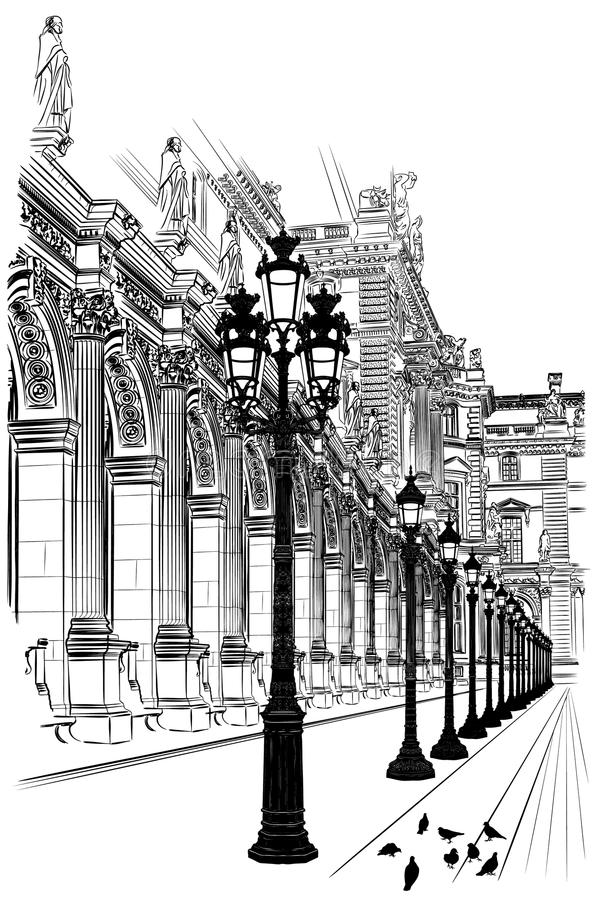 巴黎: 古典建筑 皇族释放例证