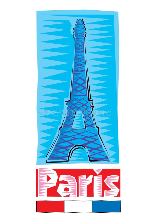 巴黎-在蓝色backgound隔绝的五颜六色的手拉的埃菲尔铁塔Clipart  r 向量例证