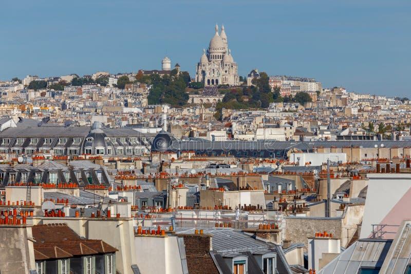 巴黎 空中城市视图 免版税库存照片