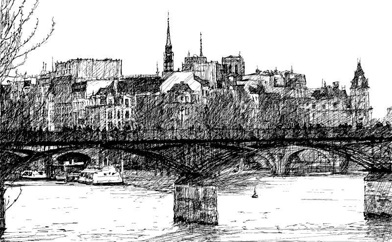 巴黎Pont des艺术 库存例证